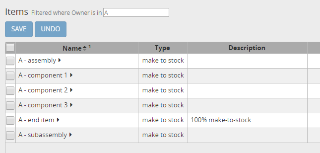 Configuration for item A
