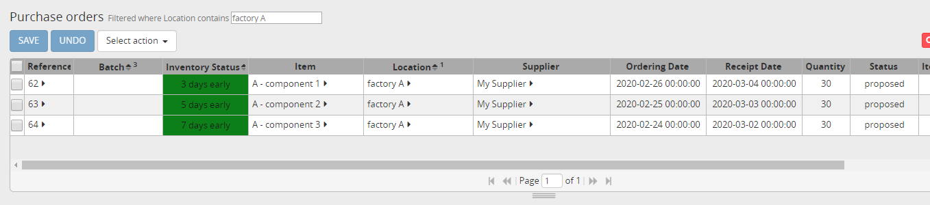 Purchase orders for item A
