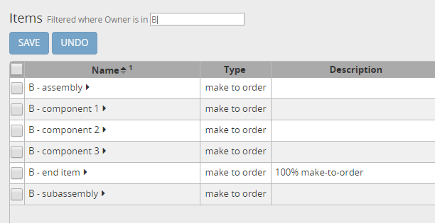 Configuration for item B