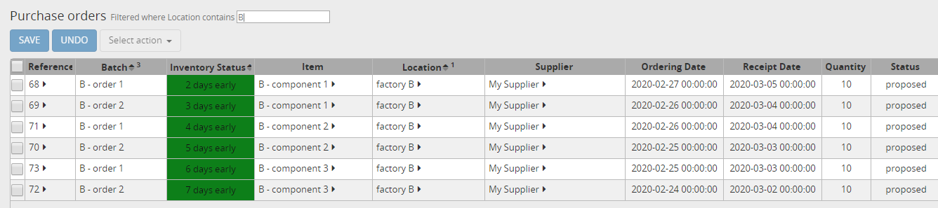 Purchase orders for item B