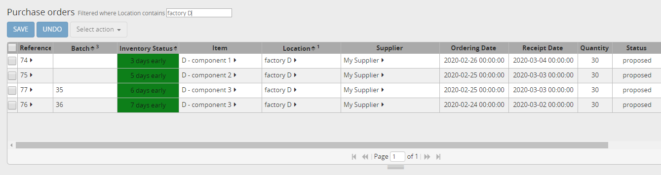 Purchase orders for item D