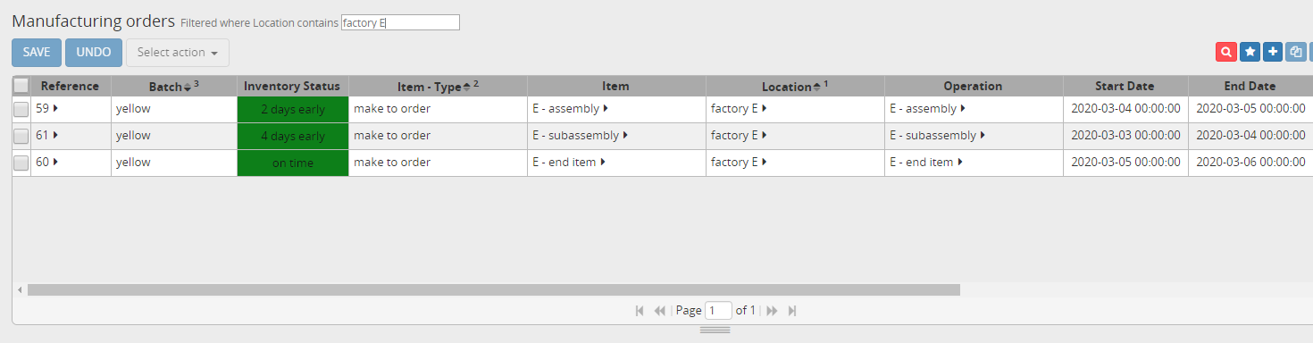 Manufacturing orders for item E