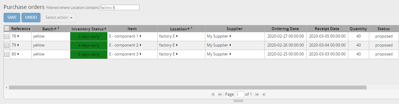Purchase orders for item E