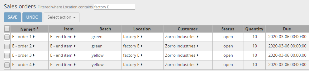 Sales orders for item E